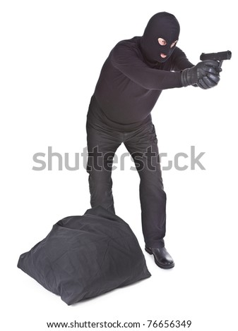 robber with sack aiming with his gun isolated on white background