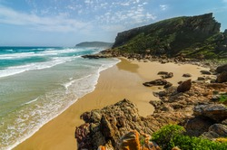 Robberg nature reserve wonderful beach and indian ocean waves from above. Garden route beaches, near Plettenberg bay. Robberg peninsula, South Africa beach. Wilderness beautiful landscapes