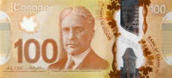 Robert Borden Portrait from Canada 100 Dollars 2011 Polymer Banknote fragment