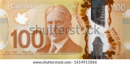 Robert Borden Portrait from Canada 100 Dollars 2011 Polymer Banknote fragment Photo stock ©