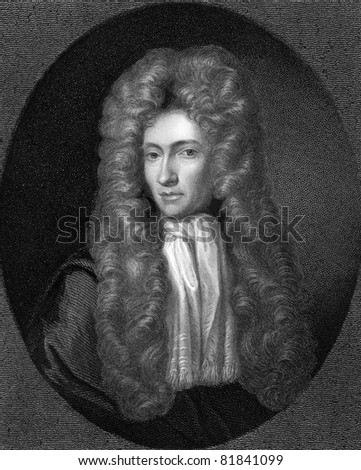 Robert Boyle (1627-1691). Engraved by R.Woodman and published in The Gallery Of Portraits With Memoirs encyclopedia, United Kingdom, 1837. - stock photo