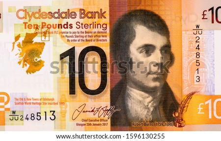Robert Burns. Portrait from Scotland 10 Pounds 2017 Banknote.17th century Scottish poet and songwriter,Polymer Banknotes. An Old Polymer banknote, vintage retro. Famous ancient Banknotes. Collection.
