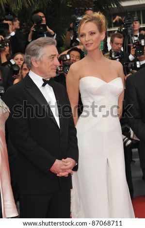 "Robert De Niro & Uma Thurman at the gala premiere for ""Midnight in Paris"" the opening film at the 64th Festival de Cannes. May 11, 2011  Cannes, France Picture: Paul Smith / Featureflash"