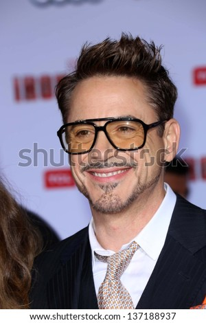 "Robert Downey Jr. at the ""Iron Man 3"" Los Angeles Premiere, El Capitan, Hollywood, CA 04-24-13 - stock photo"