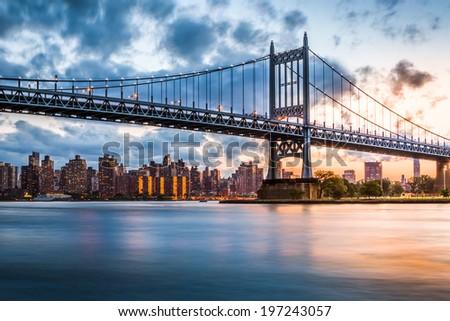 Robert F. Kennedy Bridge (aka Triboro Bridge) at sunset, in  Queens, New York Stock fotó ©