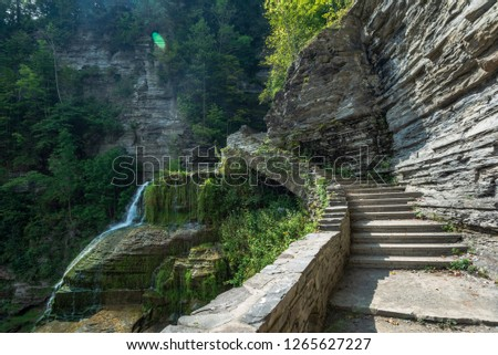 Robert H. Treman State Park: Lucifer Falls, a 115-foot-tall (35 m), multi-tiered cascading waterfall Photo stock ©