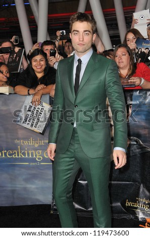 "Robert Pattinson at the world premiere of his movie ""The Twilight Saga: Breaking Dawn - Part 2"" at the Nokia Theatre LA Live. November 12, 2012  Los Angeles, CA Picture: Paul Smith"