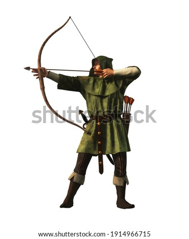 Robin Hood the outlaw archer of medieval England draws back and arrow. This legendary hero of folklore is clad in green and is armed with sword and long bow. 3D rendering. Foto d'archivio ©