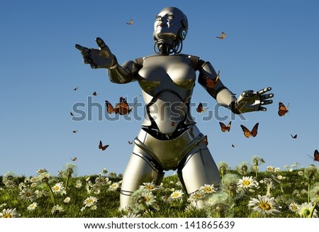 Robot  against the sky