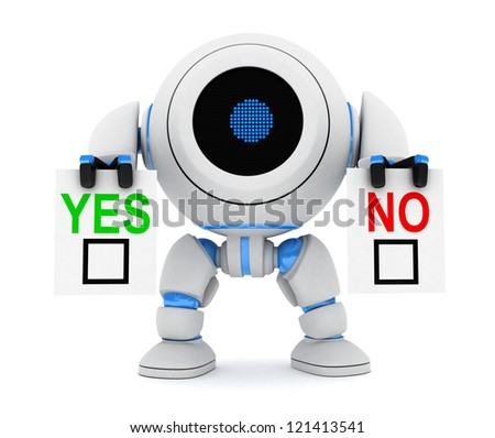 Robot and blank yes or no (done in 3d) - stock photo