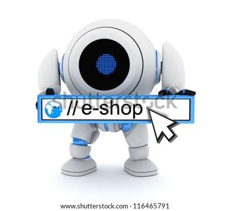 Robot and e-shop (done in 3d)