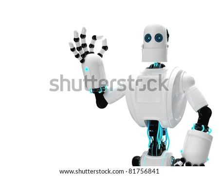 Robot and giving ok. Isolated on white background