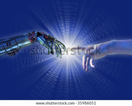 "Robot and human hands almost touching with a binary burst of light. A modern take on the famous Michelangelo painting in the Sistine Chapel; titled ""The Creation of Adam""."