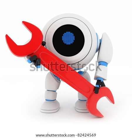 Robot and red key (done in 3d, isolated)