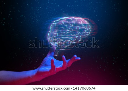robot brain digital data ai global network technology hologram with light and hand of human in sci-fi futuristic concept, touch the science atom molecule, system link to worldwide, creative idea think