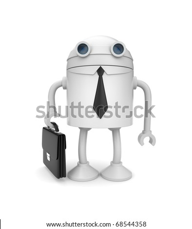 Robot businessman. New technology in business metaphor