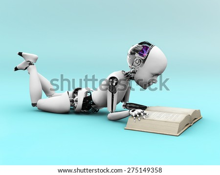 Robot child lying on the floor and reading a book. Bluish background.