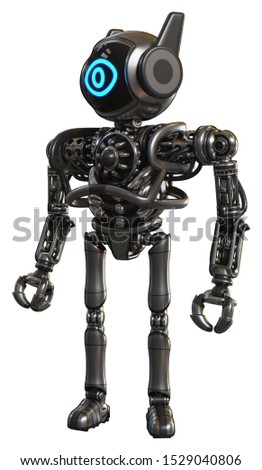 Robot containing elements: digital display head, large eye, winglets, heavy upper chest, no chest plating, ultralight foot exosuit. Material: Metal. Situation: Standing looking right restful pose.