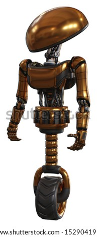 Robot containing elements: dome head, light chest exoshielding, ultralight chest exosuit, unicycle wheel. Material: Copper. Situation: Standing looking right restful pose.
