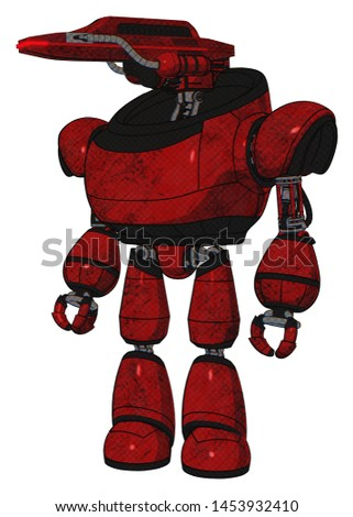 Robot containing elements: dual retro camera head, laser gun head, heavy upper chest, light leg exoshielding. Material: Red blood grunge material. Situation: Standing looking right restful pose.