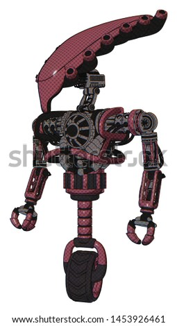 Robot containing elements: flat elongated skull head, heavy upper chest, no chest plating, unicycle wheel. Material: Muavewood halftone. Situation: Standing looking right restful pose.