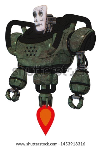 Robot containing elements: humanoid face mask, skeleton war paint, heavy upper chest, jet propulsion. Material: Old corroded copper. Situation: Standing looking right restful pose.