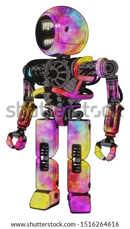 Robot containing elements: round head chomper design, heavy upper chest, no chest plating, prototype exoplate legs. Material: Plasma burst. Situation: Standing looking right restful pose.