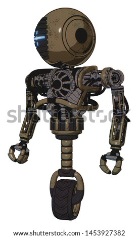 Robot containing elements: round head, vertical cyclops visor, heavy upper chest, no chest plating, unicycle wheel. Material: Desert tan painted. Situation: Standing looking right restful pose.