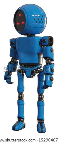 Robot containing elements: three led eyes round head, light chest exoshielding, prototype exoplate chest, ultralight foot exosuit. Material: Blue. Situation: Standing looking right restful pose.