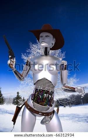 robot cowgirl west blue sky in a snow day