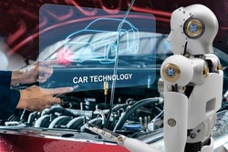 Robot cyber future futuristic humanoid with auto, automobile, automotive car check, for fix in garage industry so inspection, inspector insurance maintenance  mechanic repair robot service technology