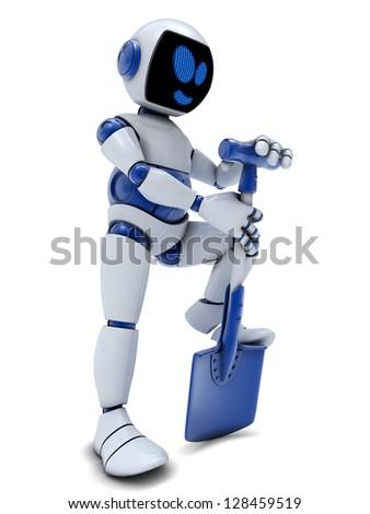 Robot digger white