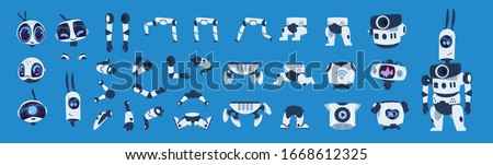 Robot elements. Cartoon android character animation set, futuristic machine constructor with different poses.  isolated futuristic cybernetic objects on blue background