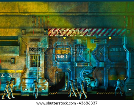 Robot Factory. Groups of Robots performing different tasks. Repairing, marching and building machines. Room for text .Original Illustration