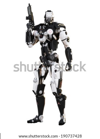 Stock Photo Robot Futuristic Police armored mech weapon on a white background with clipping path