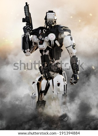 Robot Futuristic Police armored mech weapon with action background