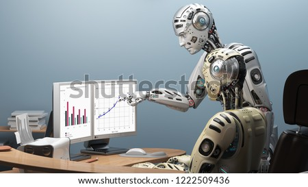 Robot getting advice from office colleague at his desk.  Cyborg pointing at pc display and explaining his points of project to another cyborg. Two robots working together in the office. 3D Render