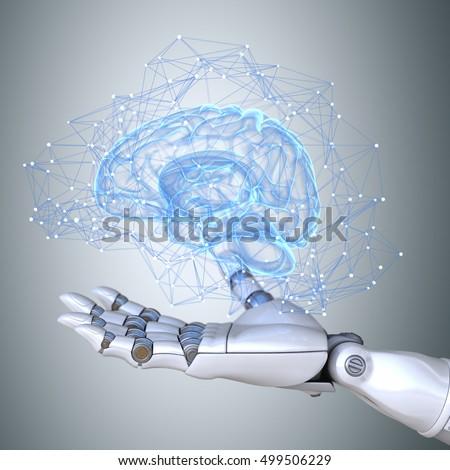 Shutterstock Robot hand holding virtual brain scheme