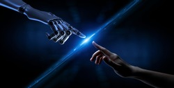 Robot hand making contact with human hand. 3d rendering.