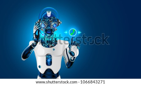 Robot head with headset. Robot receives the call. The Bot talk with customer on phone or chat. Web sait assistant. Automatic call center. Futuristic concept. ストックフォト ©