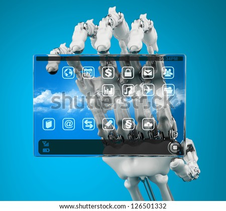 Robot holding a prototype handheld computer