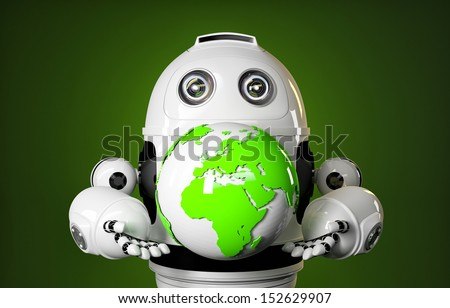 Robot holds earth globe. Technology concept