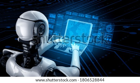 Robot humanoid use laptop and sit at table for big data analytic using AI thinking brain , artificial intelligence and machine learning process for the 4th fourth industrial revolution . 3D rendering. Stock fotó ©