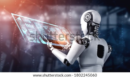 Robot humanoid using tablet computer for big data analytic using AI thinking brain , artificial intelligence and machine learning process for the 4th fourth industrial revolution . 3D rendering. Stock fotó ©