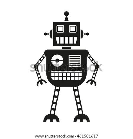 Robot icon isolated on white background.