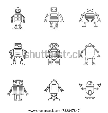 Robot Icons Set Outline Set Of 9 Robot Vector Icons For Web