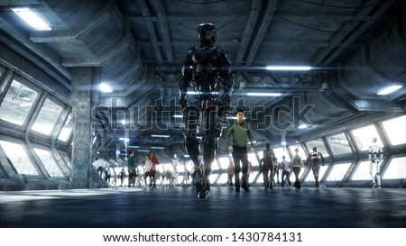 Robot in Sci fi tonnel. Concept of future.. 3d rendering.