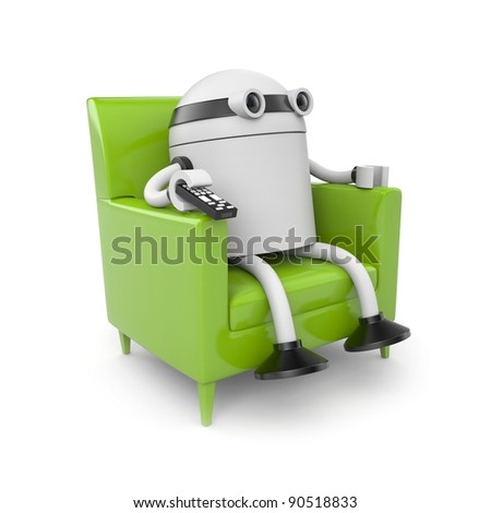 Robot is resting and watching tv