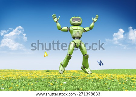 Stock Photo Robot jumps up