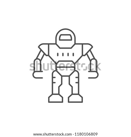 Robot line icon isolated on white